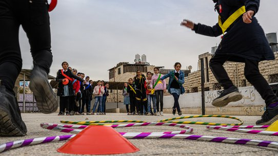 Children in Hebron, OPT, participating in TeamUp activities